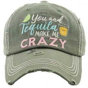 You & Tequila Make Me Crazy Gray Distressed Hat